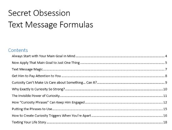 secret text messages contents